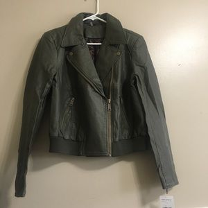 NWT free people faux leather olive green jacket